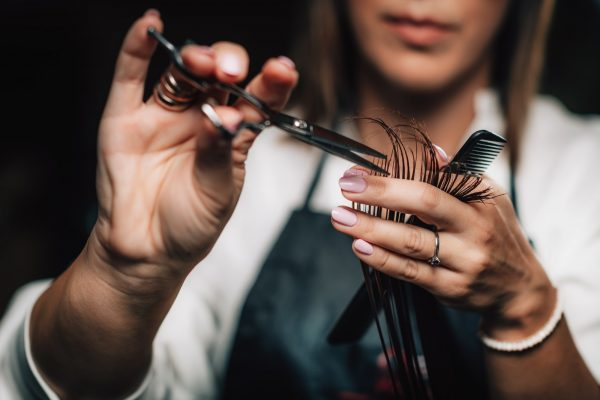 Cutting Hair in Beauty Salon
